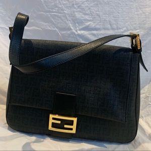 Authentic Fendi Big Mama Zucca-Flap Shoulder Bag